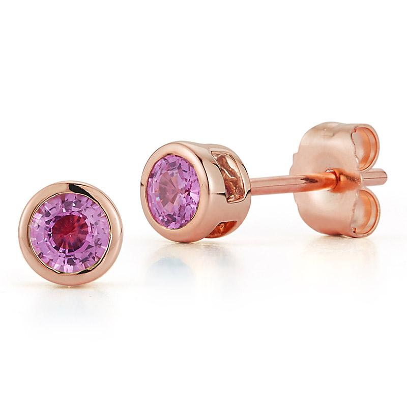 Deutsch Signature Bezel Pink Sapphire Stud Earrings