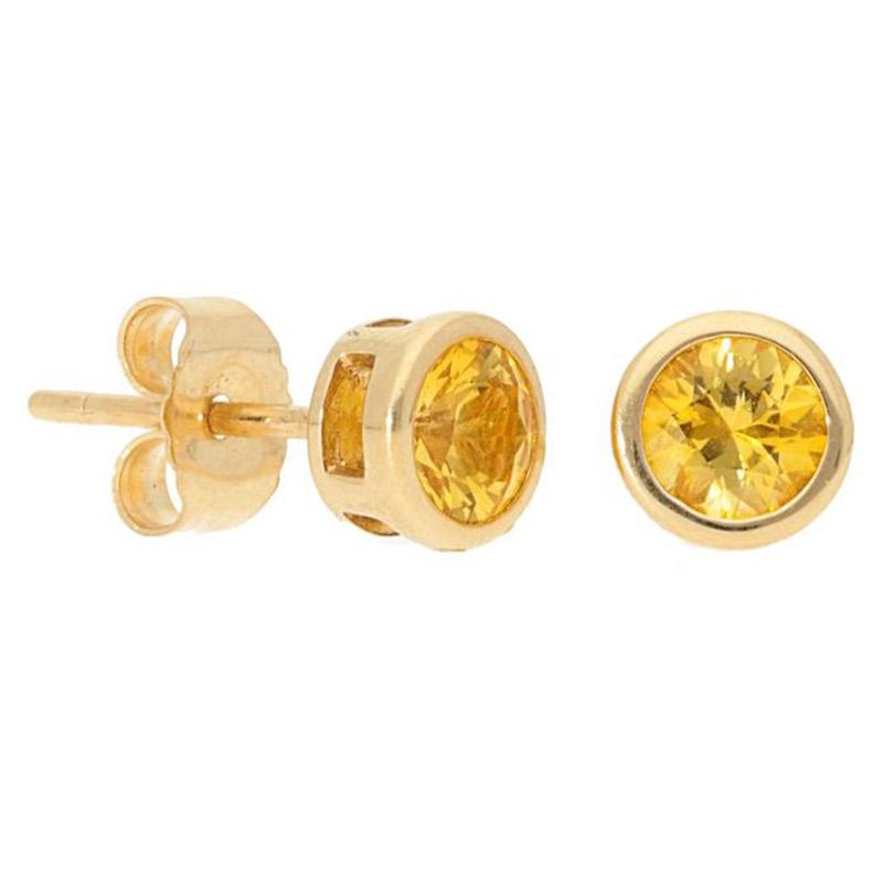 Deutsch Signature Bezel Yellow Sapphire Stud Earrings