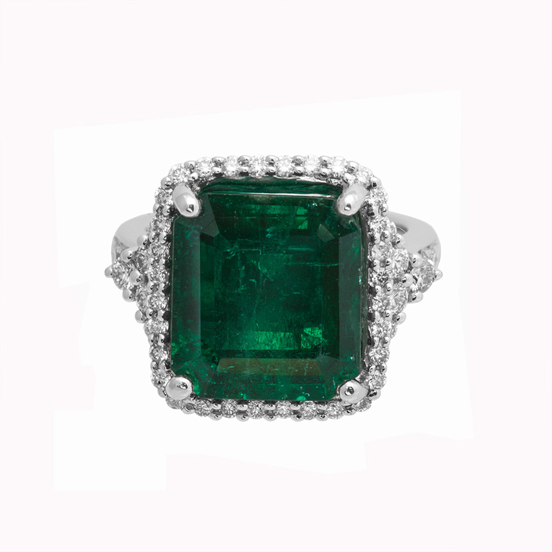 Jye's EC Emerald and Diamond Halo Ring