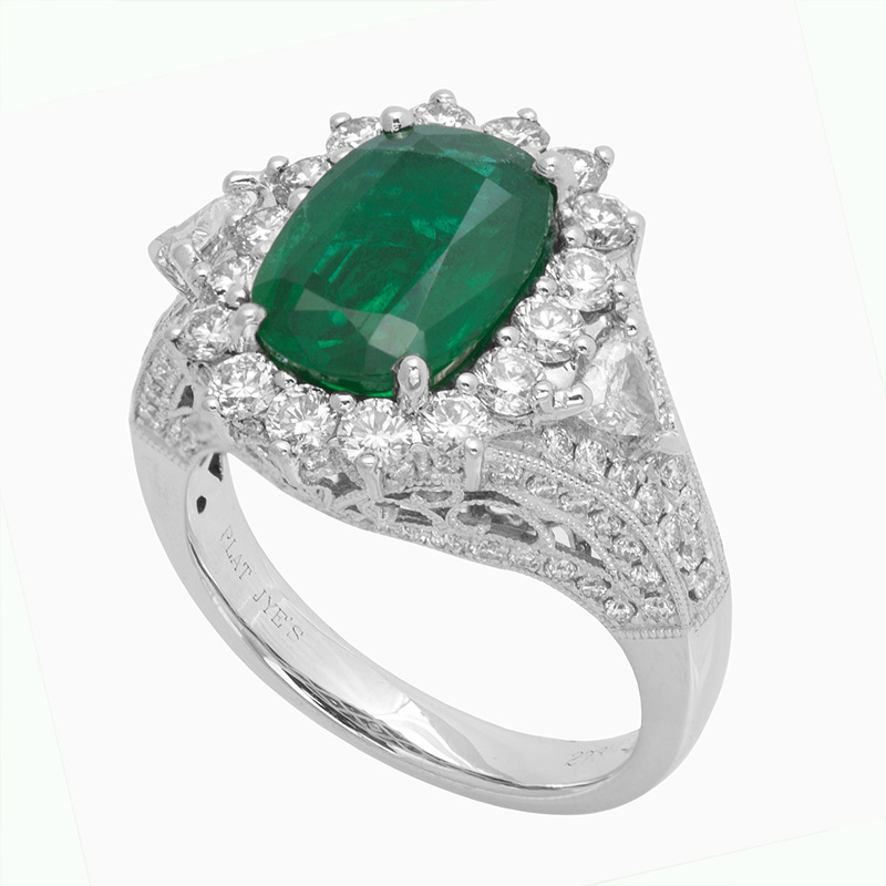 Jye's Oval Emerald and marquise pave Diamond Ring