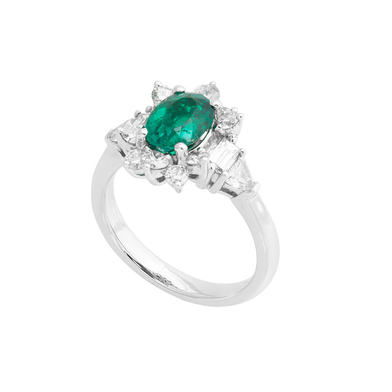 Jye's Oval Emerald and Round Diamond Halo Ring