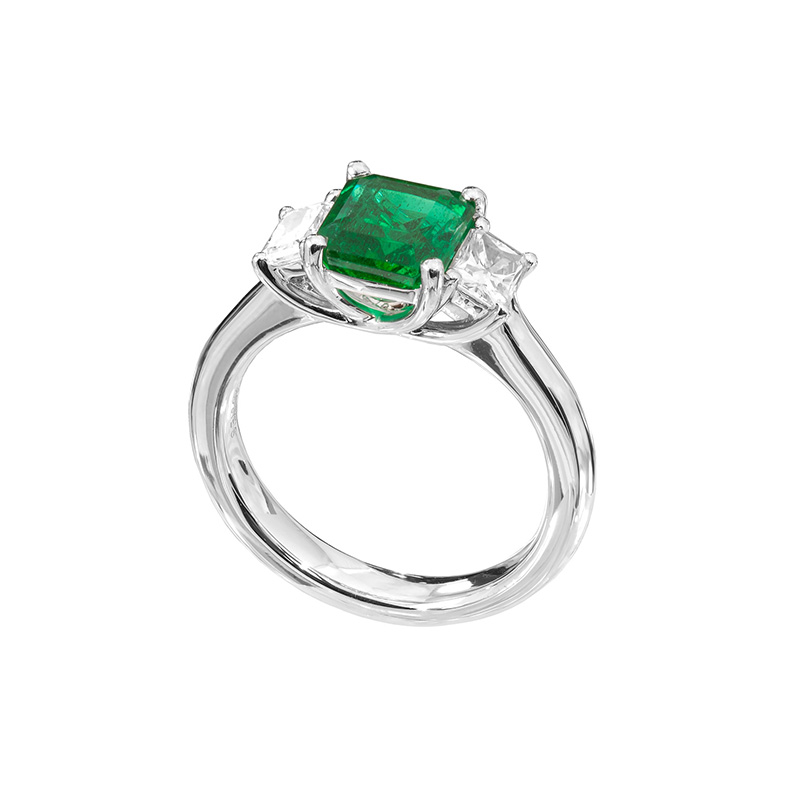 Jye's Emerald and Radiant Diamond 3 Stone Ring