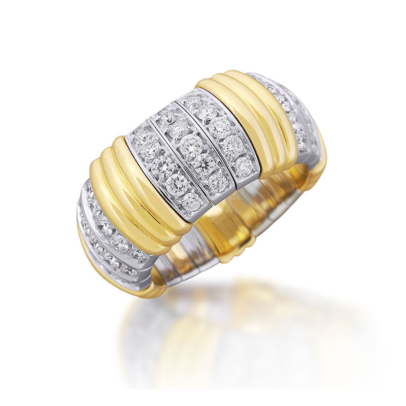 XPANDABLE™ Diamond and Yellow Gold Accented Ring