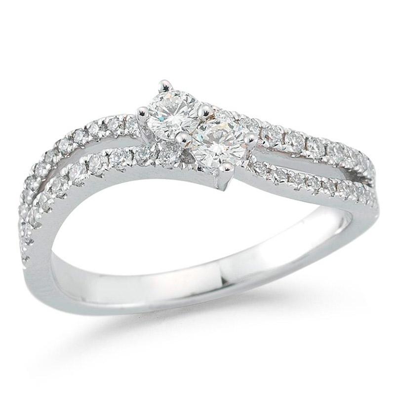 Deutsch Signature Open 2 Row and 2 Stone Diamond Ring