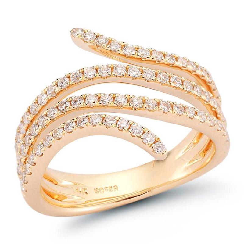 Deutsch Signature Mulit Row Diamond Curved Ring