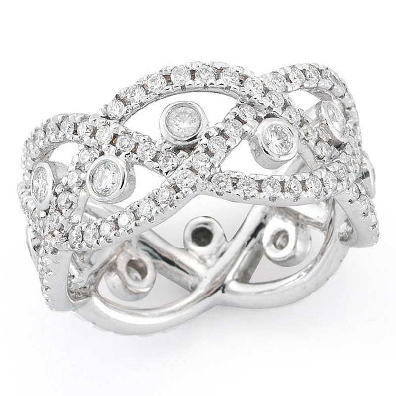 Deutsch Signature Diamond Criss Cross Ring with Diamond Bezels