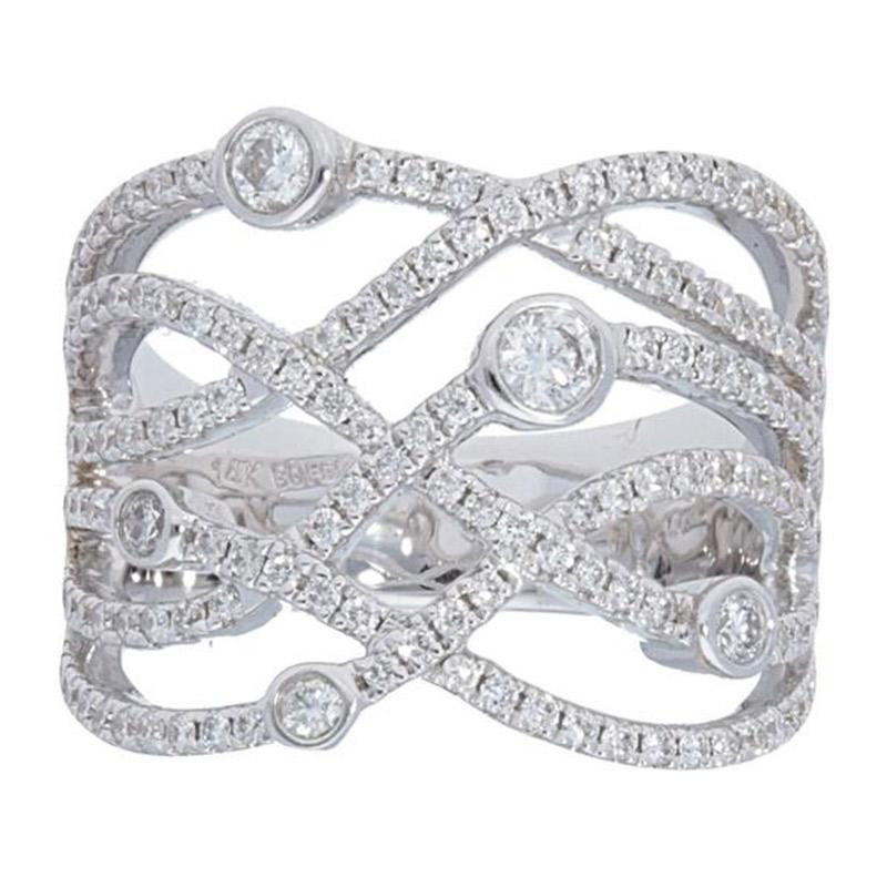 Deutsch Signature Wide Diamond Criss Cross Ring with Diamond Bezels