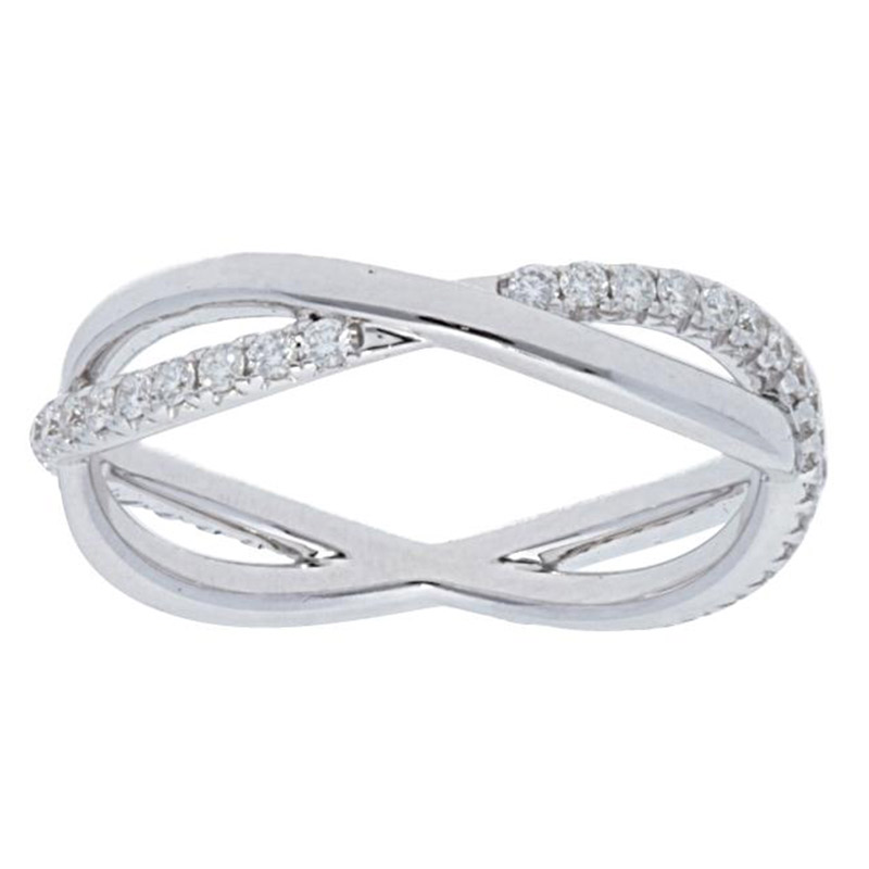 Deutsch Signature Pave Diamond and Polished Crossover Ring