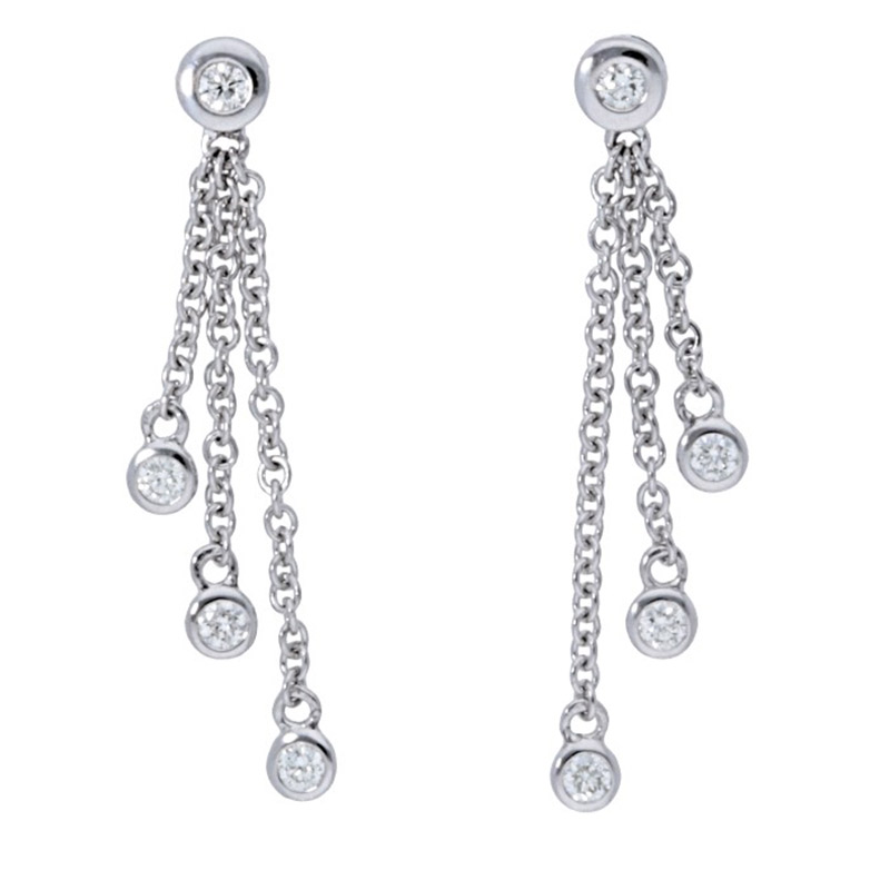Deutsch Signature Bezel Diamond Drop Earrings