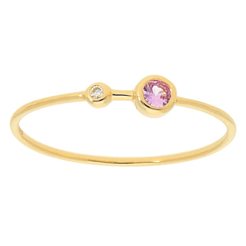 Deutsch Signature Two Bezel Diamond and Pink Sapphire Thin Band
