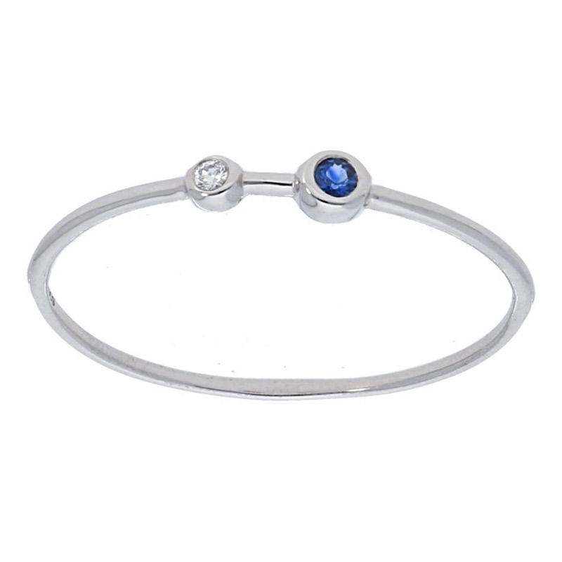 Deutsch Signature Two Bezel Diamond and Blue Sapphire Thin Band