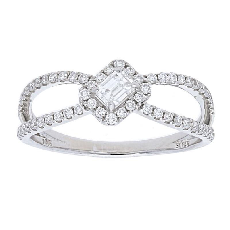 Deutsch Signature Elegant 2 Row Pave Diamond Ring with Emerald cut Center