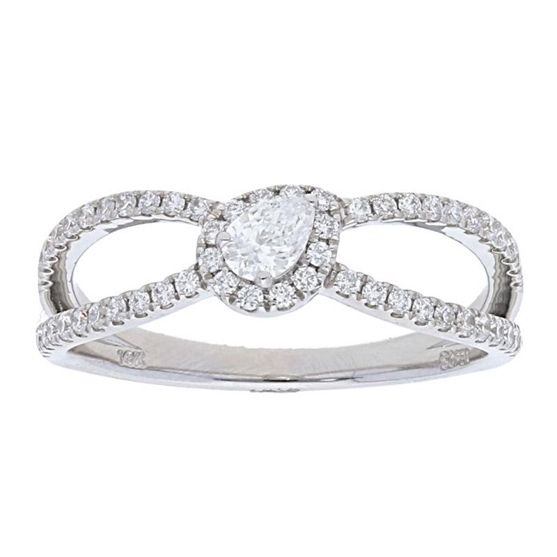 Deutsch Signature Elegant 2 Row Pave Diamond Ring with Pearl Center