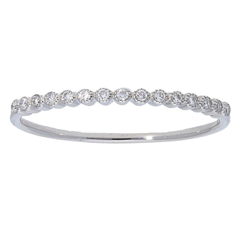 Deutsch Signature 15 Diamonds Milgrain Bezel Stackable Band