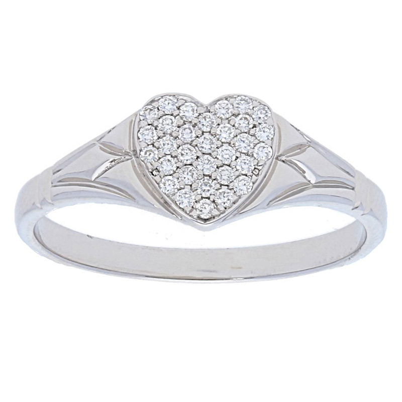 Deutsch Signature Heart Shape Pave Diamonds Ring