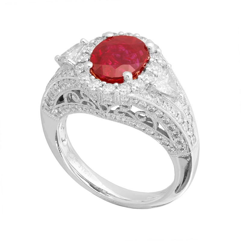 Jye's Oval Ruby and Diamond Halo Ring
