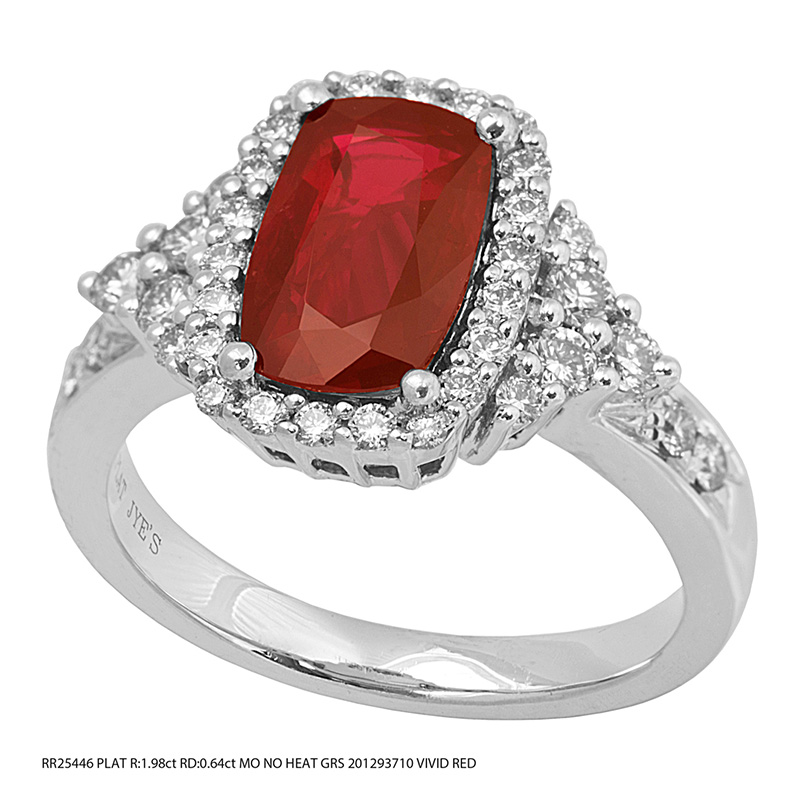 Jye's Oval Ruby and Diamond Halo Pave Shank Ring