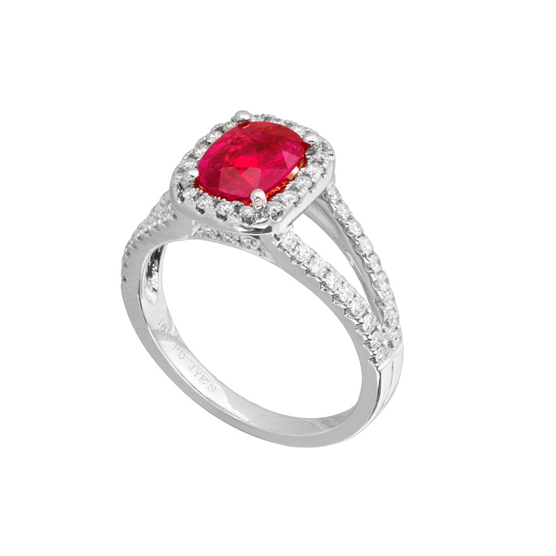 Jye's Oval Ruby and Diamond Halo Split Shank Ring