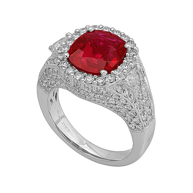 Jye's Oval Ruby and Tril Diamond Halo Ring
