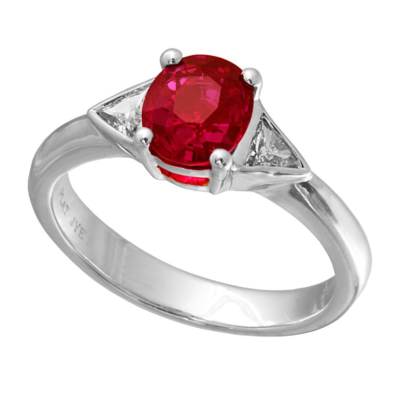 Jye's Oval Ruby and Trillion Diamond Ring
