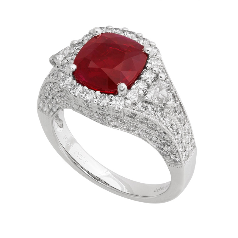 Jye's Cushion Ruby and Diamond Halo Ring