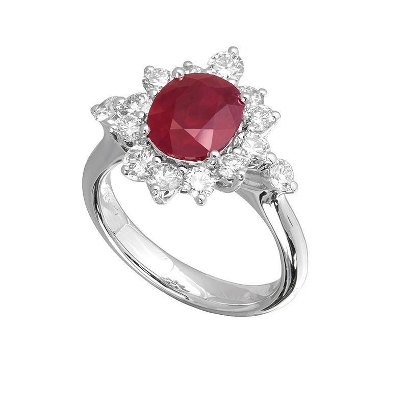 Jye's Ruby and Diamond Flower Ring