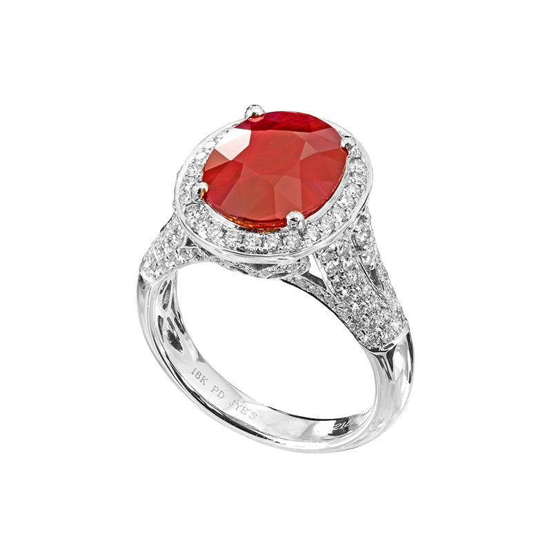 Jye's Ruby and and Diamond Pave Halo Ring
