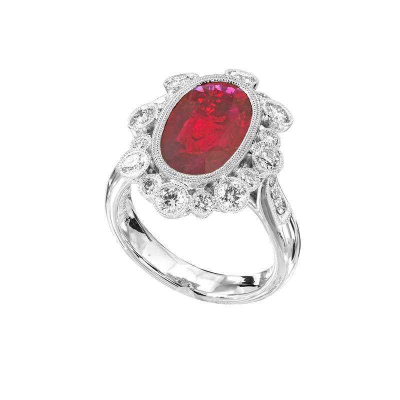 Jye's Ruby and Diamond Halo ring