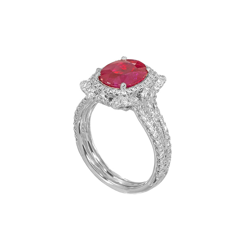 Jye's Oval Ruby and Diamond Pave Halo Ring