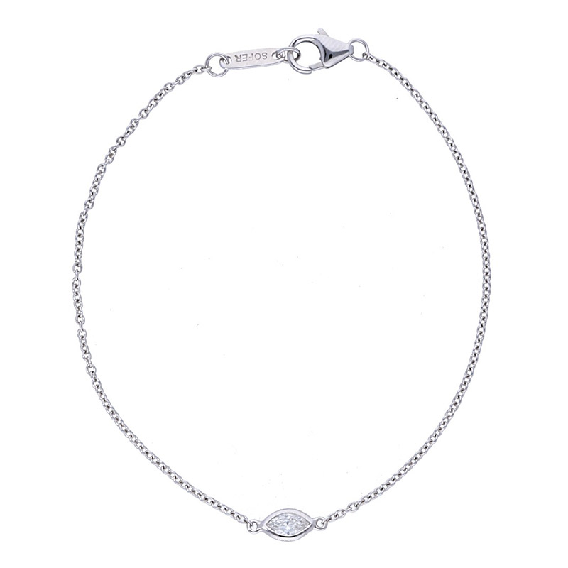 Deutsch Signature Single Marquise Polished Bezel Bracelet
