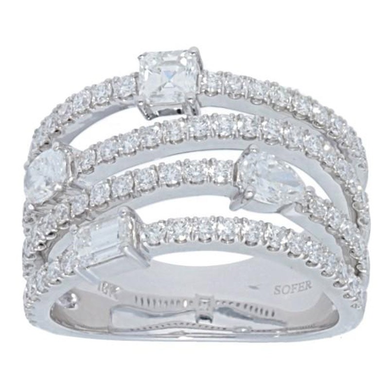 Deutsch Signature 4 Row Multi Shape Diamond Ring