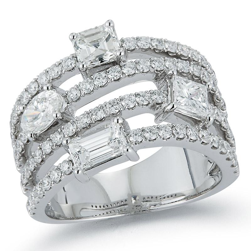 Deutsch Signature 4 Row Multi Shape Diamond Ring