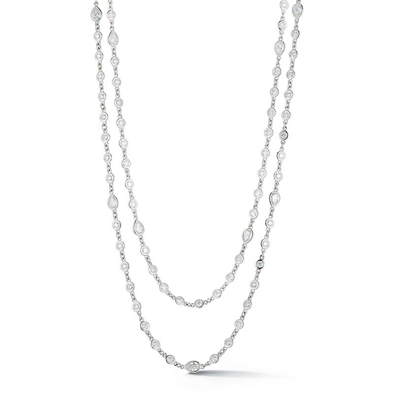 Deutsch Signature All Connected Plain Bezel Diamonds by the Yard Necklace