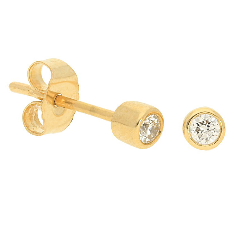 Deutsch Signature Plain Bezel Diamond Stud Earrings