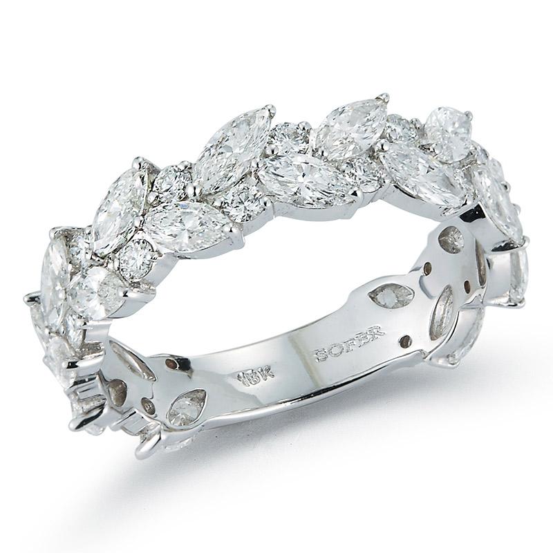 Deutsch Signature 2 Row Marquise, Round Diamond Alternating Ring