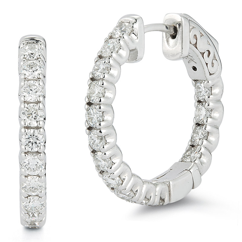 Deutsch Signature Diamond Shared Prong Hoop Earrings, 0.70 inch