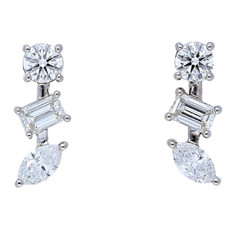 Deutsch Signature Multi Shape Diamond Stud Earring