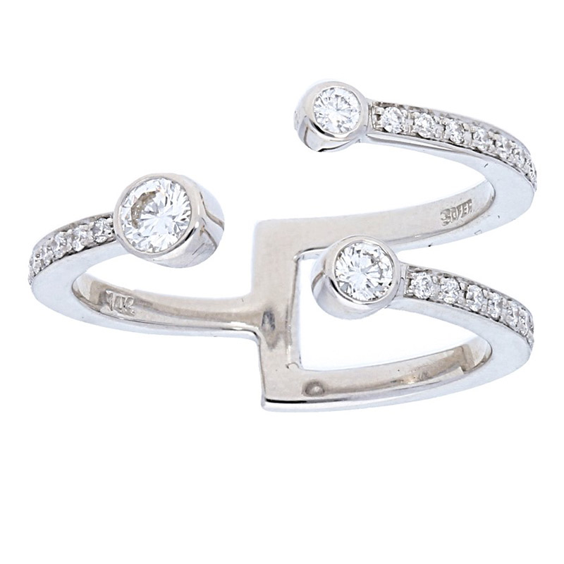 Deutsch Signature Open 3 Row Bezel and Pave Diamond Ring