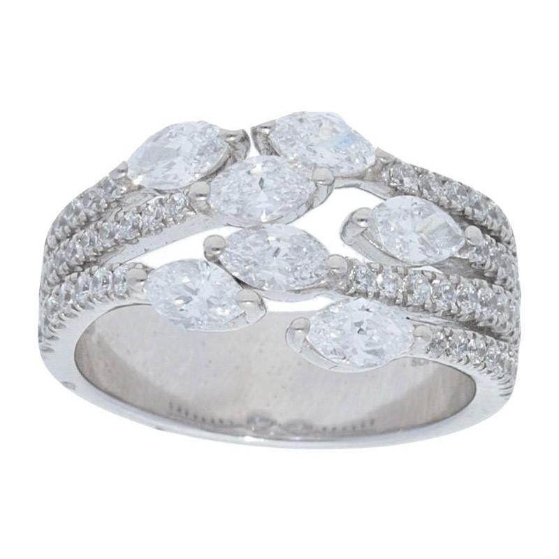 Deutsch Signature Mulit Row Diamond Ring with Marquise Diamonds