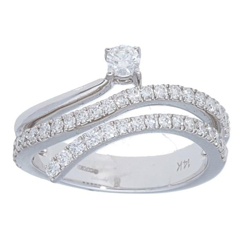 Deutsch Signature Mulit Row Diamond Ring with Round Diamond