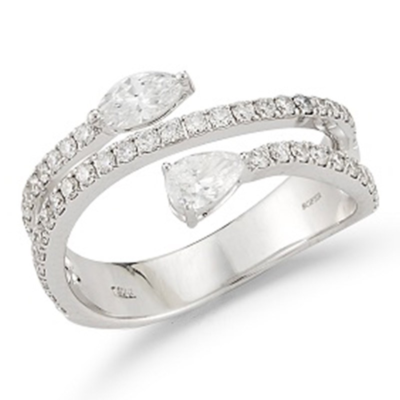 Deutsch Signature 3 Row Diamond Ring with Pear and Marquise Diamonds