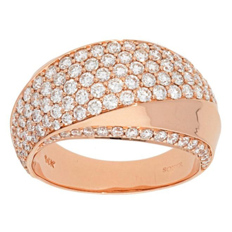 Deutsch Signature Twist Dome Pave Diamond Ring