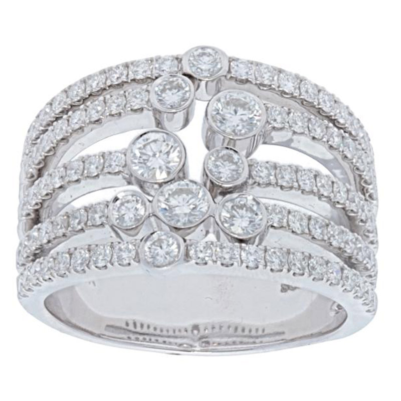Deutsch Signature Multi Row Diamond Bezel and Pave Ring