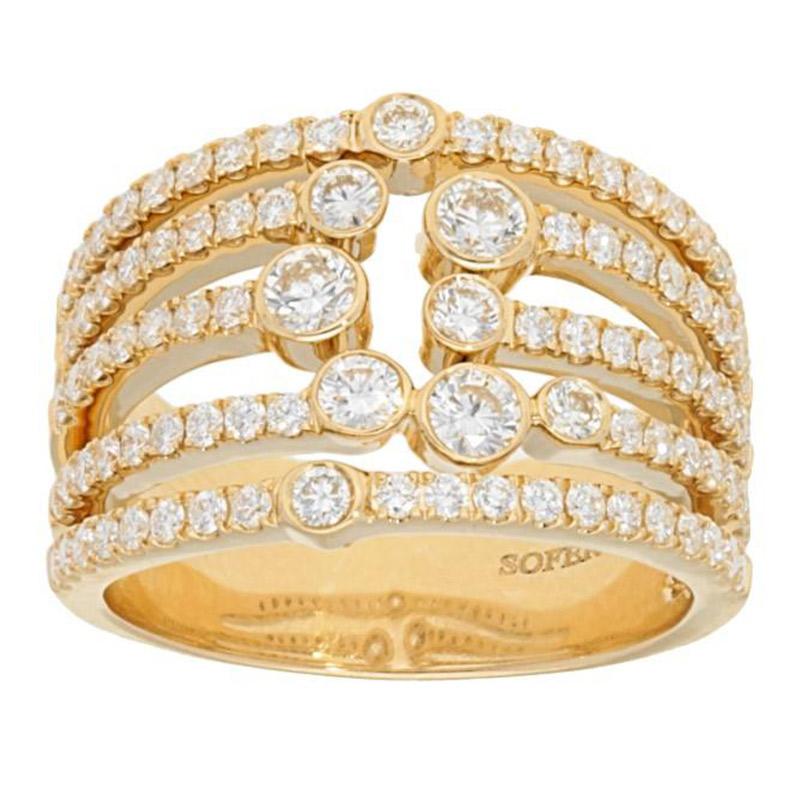 Deutsch Signature Multi Row Diamond Bezel and Pave Ring