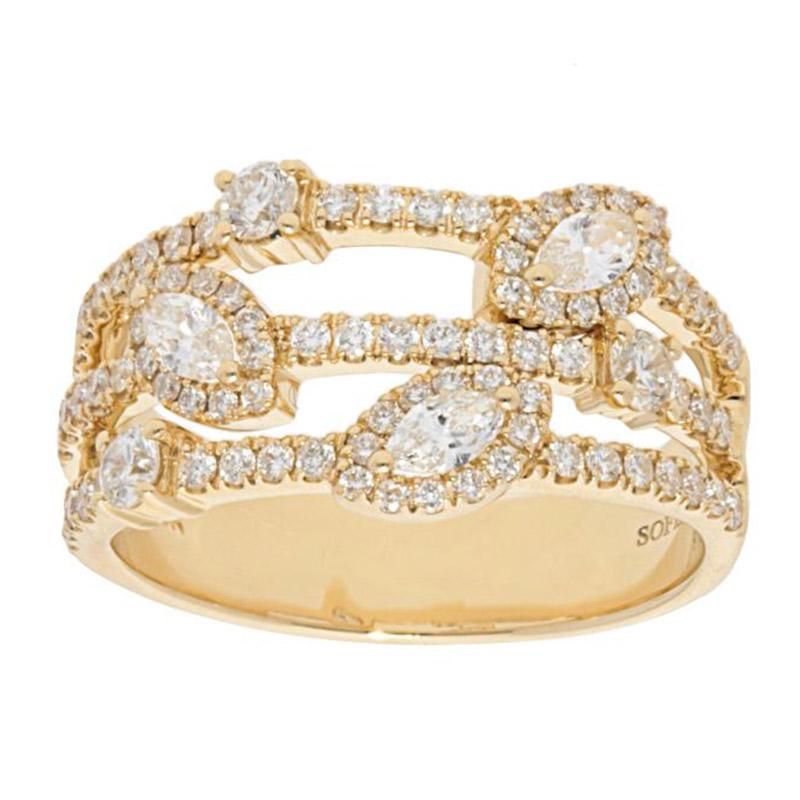 Deutsch Signature Round and Marquise Halo Multi Diamond Row Ring