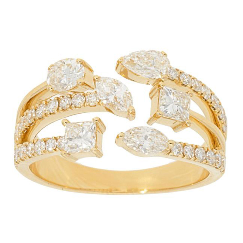 Deutsch Signature Open 3 Row Diamond Ring with Multi Shaped Diamonds