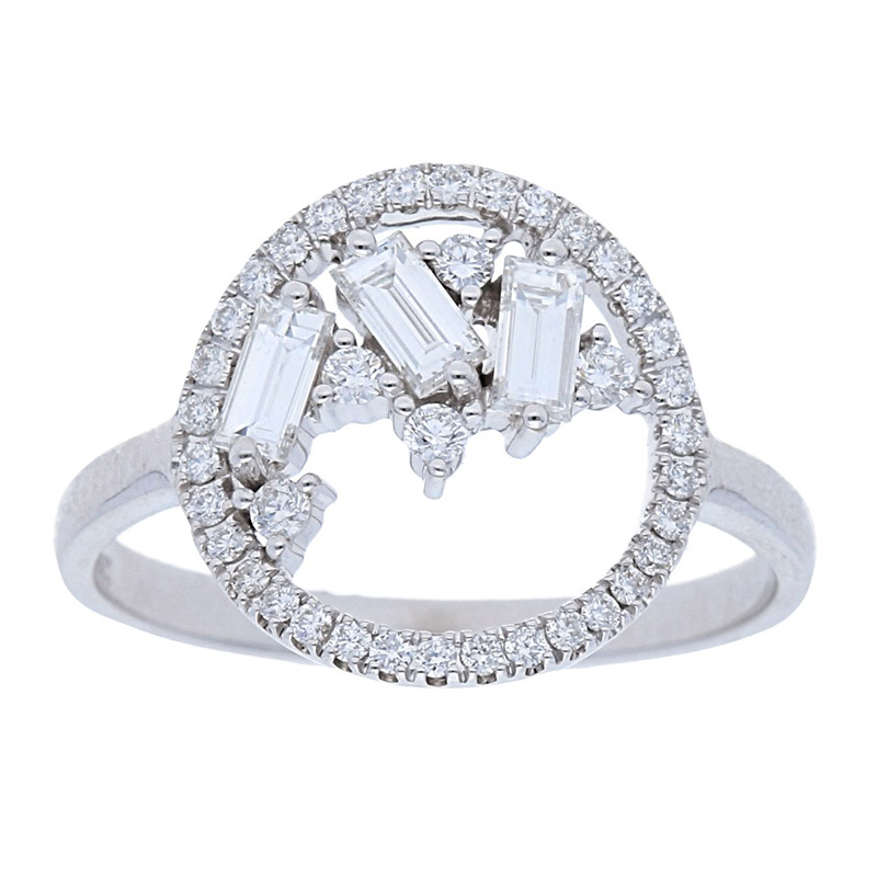 Deutsch Signature Open Circle with Baguette Diamond Ring