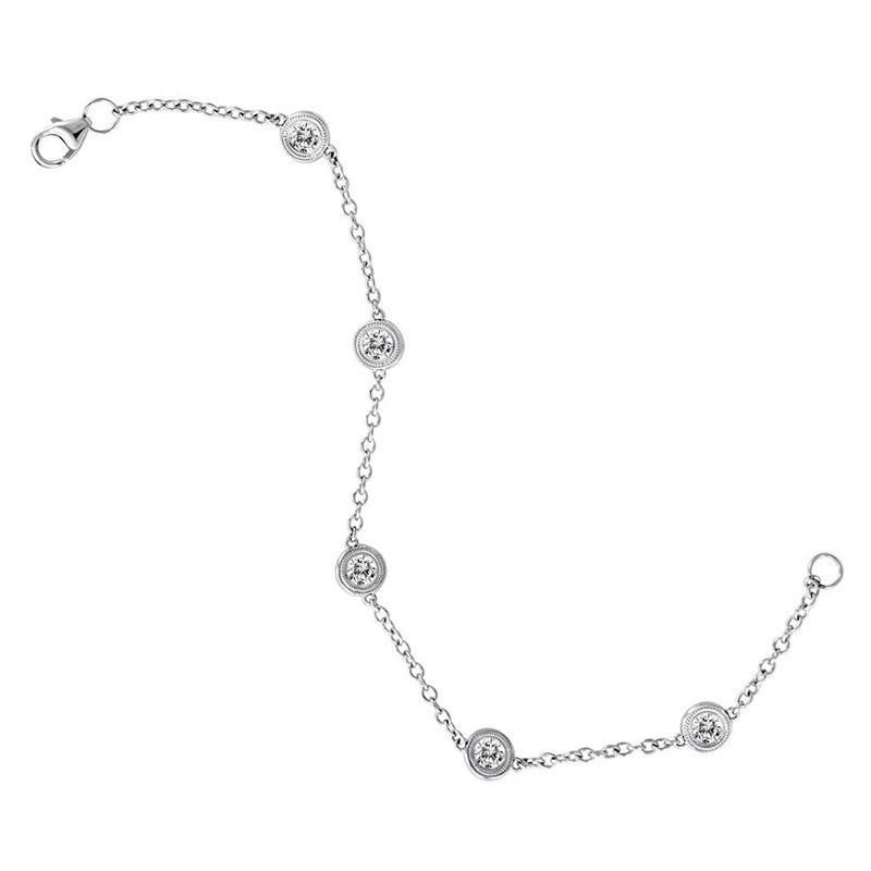 Deutsch Signature 5 Milgrain Bezel Diamonds By the Yard Bracelet