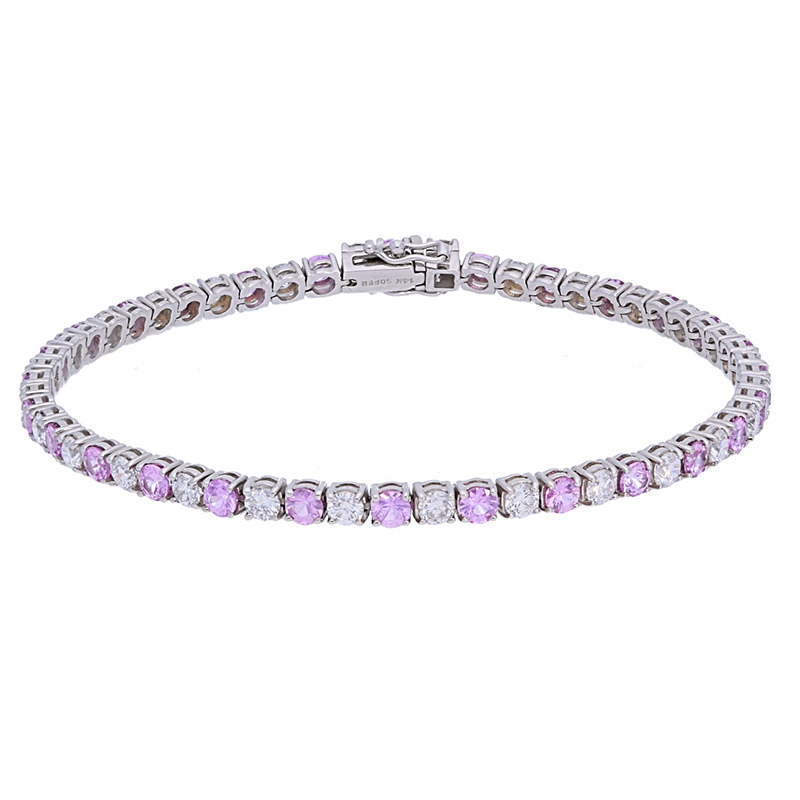 Deutsch Signature Pink Sapphires and Diamond Tennis Bracelet