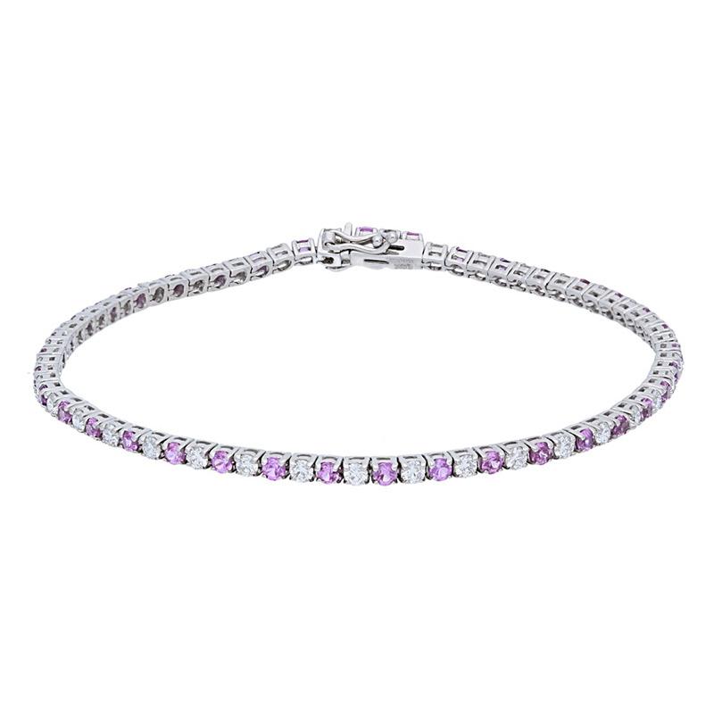Deutsch Signature Diamond and Pink Sapphire Tennis Bracelet